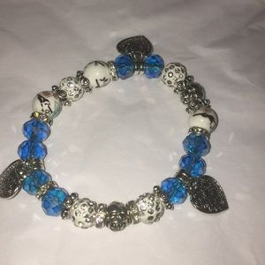 Blue and silver stretchy bracelet heart charms